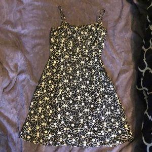 Black dress with white flowers sun dress
